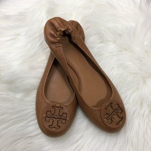 Tory Burch Tan Leather Reva Ballet Flats